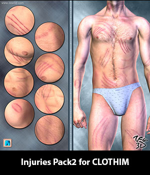 Injuries Pack2 for CLOTHIM 3D Figure Assets zew3d
