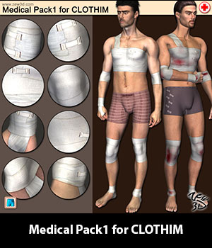 Medical Pack1 for CLOTHIM 3D Figure Assets zew3d
