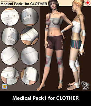 Medical Pack1 for CLOTHER 3D Figure Assets zew3d