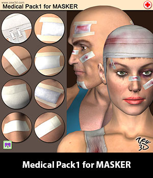 Medical Pack1 for MASKER 3D Figure Assets zew3d