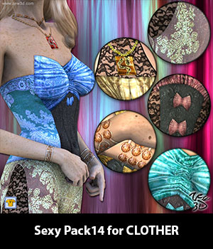 Sexy Pack14 for CLOTHER 3D Figure Assets zew3d