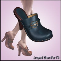 Leopard Shoes For V4 3D Figure Assets dx30