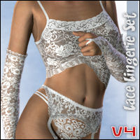 Lace Lingerie Set for V4 3D Figure Assets hongyu