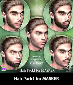 Hair Pack1 for MASKER 3D Figure Assets zew3d