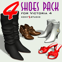 4 Shoes Pack for V4 3D Figure Assets kony