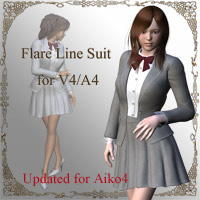 Flare Line Suit for V4/A4 3D Figure Assets kobamax