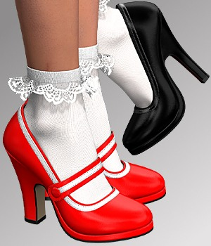 Pumps & Socks For V4 3D Figure Assets idler168