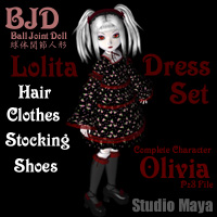 [BJD]Lolita Dress Set & Olivia 3D Figure Essentials 3D Models MayaX