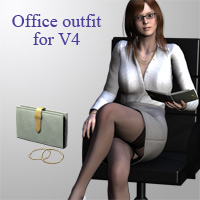 Office outfit for V4 3D Figure Essentials kobamax