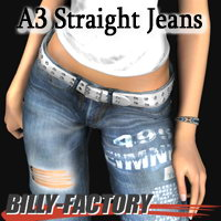 A3 Straight Jeans 3D Figure Assets billy-t