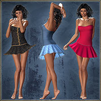 Ruffle Mini Dress & 4 Styles for V4 3D Figure Essentials 3D Models karanta