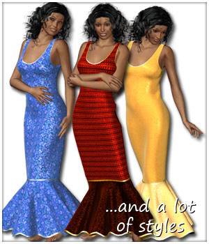 Mermaid Line Dress and 10 Styles for V4 3D Figure Assets karanta