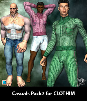 Casuals Pack7 for CLOTHIM 3D Figure Assets zew3d