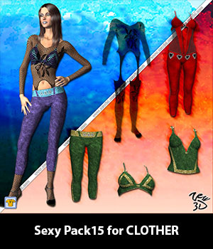 Sexy Pack15 for CLOTHER 3D Figure Assets zew3d