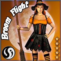 Young Witch: Broom Flight 2D Graphics 3D Figure Assets 3D Models CJ-studio