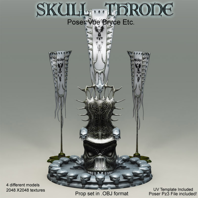 Skull Throne .OBJ Pack