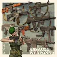 Assault Weapons_3 3D Models 3D Figure Essentials panko