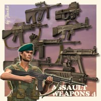 Assault Weapons_4 3D Figure Essentials 3D Models panko