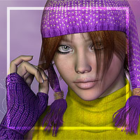 Winter Cap Hair and Gloves 3D Figure Essentials 3D Models goldtassel