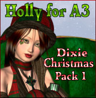 Holly for A3-Dixie Christmas Pack 1  3D Models 3D Figure Essentials Propschick