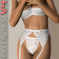 Lace Lingerie Set II for V4 3D Figure Assets hongyu