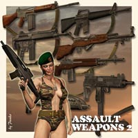 Assault Weapons_2 Themed Poses/Expressions Props/Scenes/Architecture panko