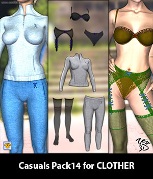 Casuals Pack14 for CLOTHER 3D Figure Essentials zew3d