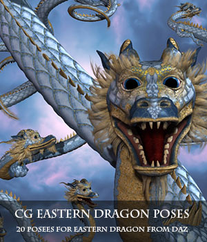 CG Eastern Dragon Poses 3D Figure Assets ChristineG
