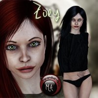 Zoey - Character and Outfit for V4 3D Figure Assets Mirandus-Arts