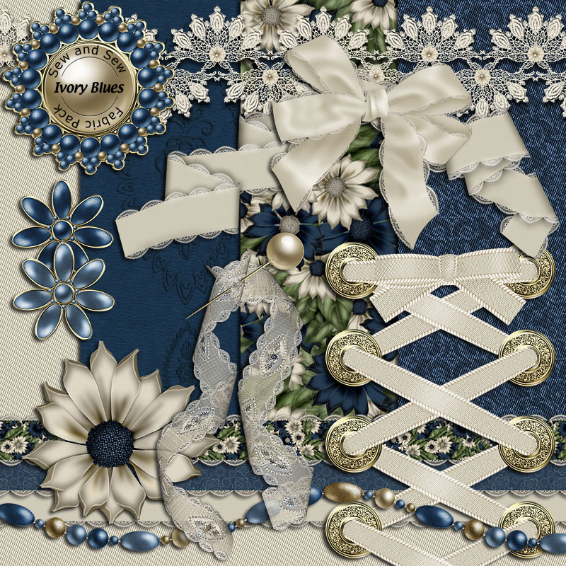 Sew and Sew Ivory Blues Fabric Pack