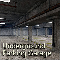 Underground Parking Garage (Poser & Vue) Props/Scenes/Architecture RPublishing