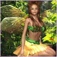 Floral Fairy Outfit for V4 &A4 3D Models 3D Figure Essentials prae