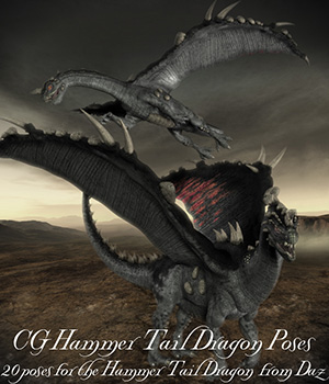 CG Hammer Tail Dragon Poses 3D Figure Assets ChristineG