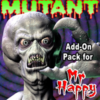 Mutant Add-On Pack for Mr. Happy-The Living Corpse 3D Figure Assets 3D Models grotto