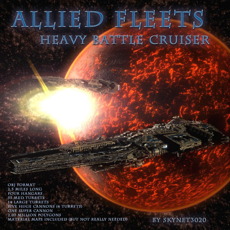 Allied Fleets Heavy Battle Cruiser OBJ Format