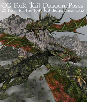 CG Fork Tail Dragon Poses 3D Figure Assets ChristineG