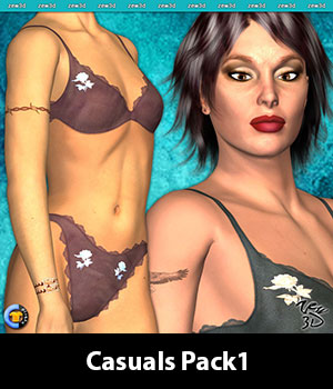 Casuals Pack1 for CLOTHER Hybrid 3D Figure Assets zew3d