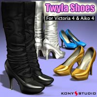 Twyla Shoes for V4A4 3D Figure Assets kony