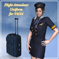 Flight attendant uniform for V4A4 3D Figure Assets kobamax