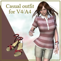 Casual outfit for V4/A4 3D Figure Assets kobamax
