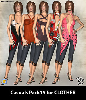Casuals Pack15 for CLOTHER 3D Figure Assets zew3d