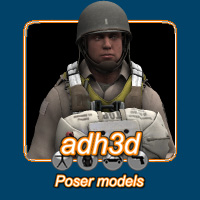 WW2 USA airborne 3D Models 3D Figure Essentials adh3d