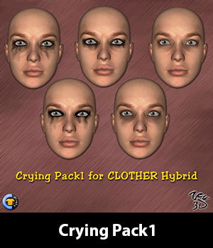 Crying Pack1 for CLOTHER Hybrid 3D Figure Assets zew3d