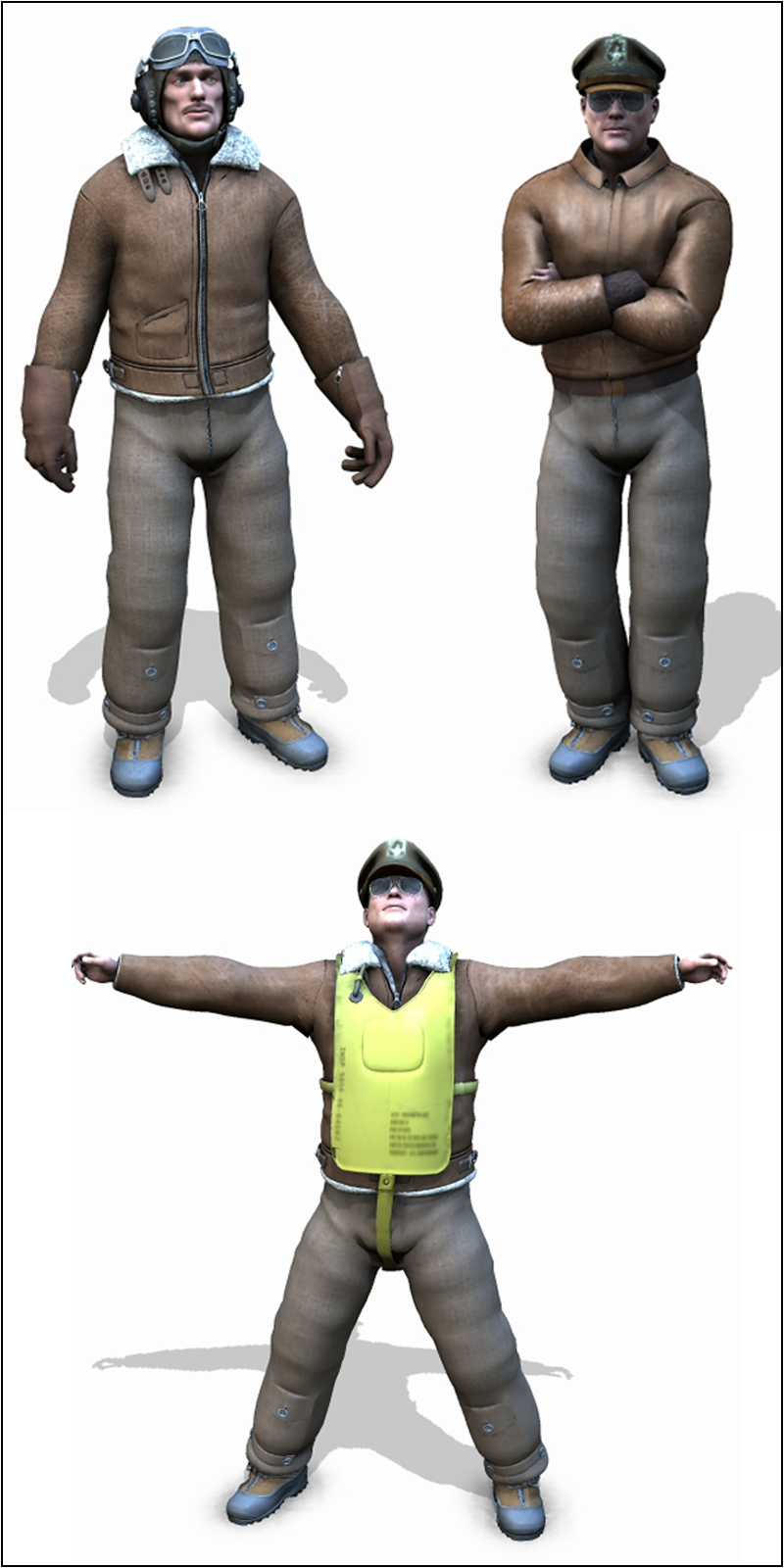 3d Models For Poser And Daz Studio: WW2 USAAF Pilot Pack 3D Models 3D Figure Assets Adh3d