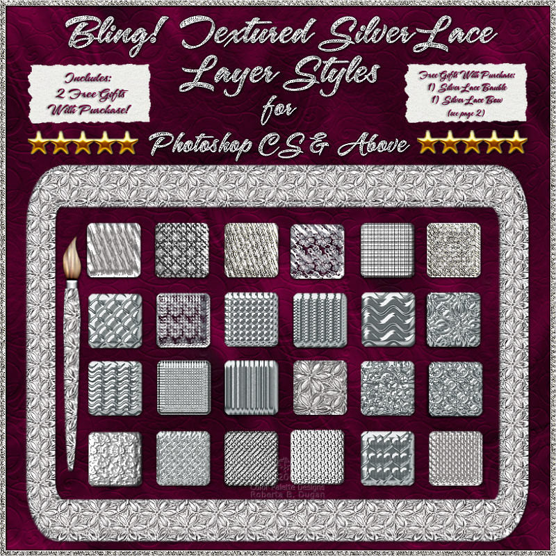 Bling! Textured Silver Laces Layer Styles w/ Free Gifts