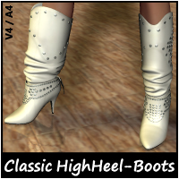 Mysthero's Classic HighHeel-Boots for V4/A4 3D Figure Assets Mysthero