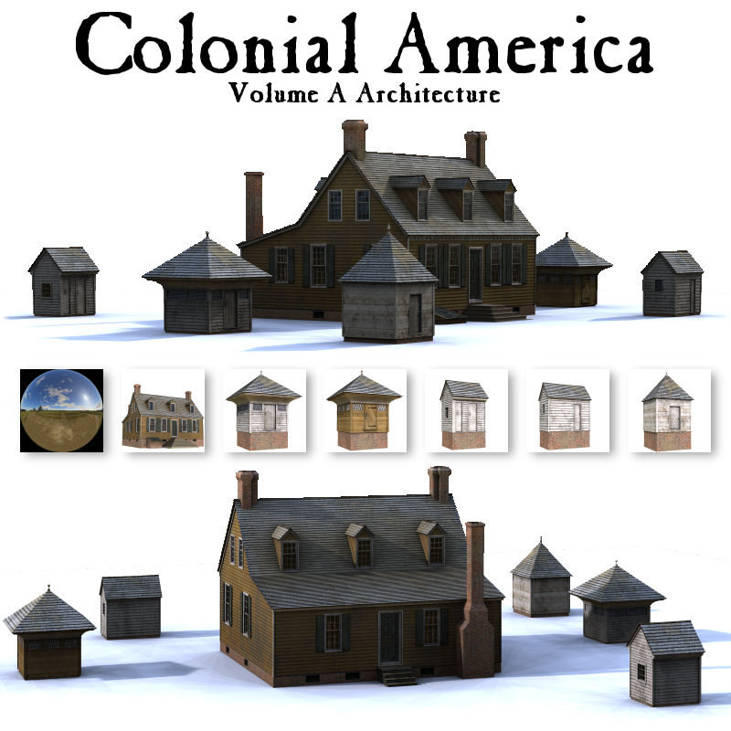 Colonial America Building Props Volume A Themed Poser muralist