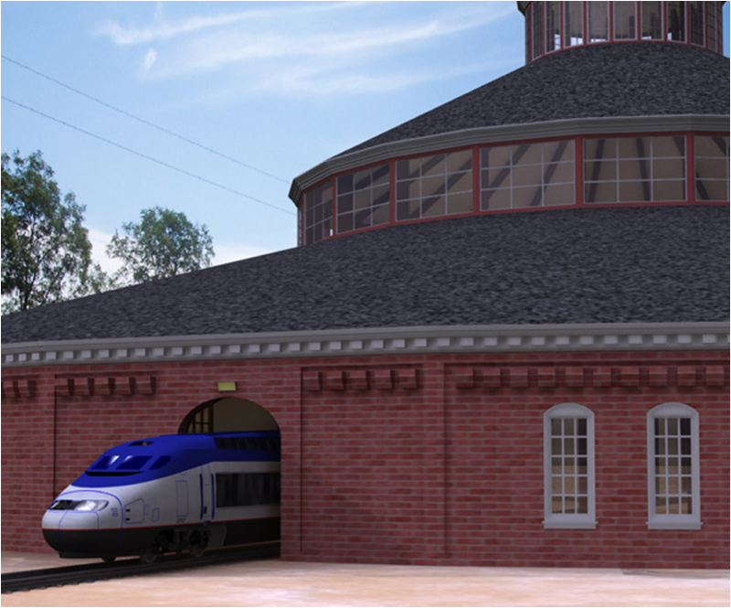 Roundhouse Train Station (Poser & OBJ & Vue)