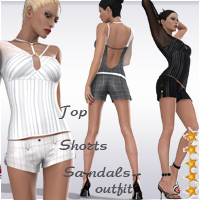 V4 Shorts Top Sandals Businesswoman Outfit by Arrin