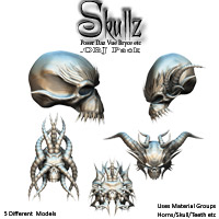 SkullZ .OBJ Pack 3D Models Poisen
